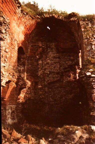 view ruins of Torthorwald castle,showing an example of the vaulted method of building.